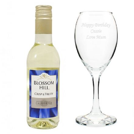 Personalised Wine Glass & White Wine Gift Set